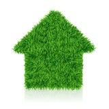 Zielony dom, gazon trawa, ekologii budowa, wektor royalty ilustracja