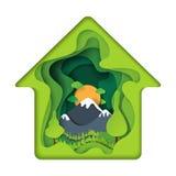 Zielony dom z natura krajobrazu abstrakta papieru sztuki tłem Obraz Stock