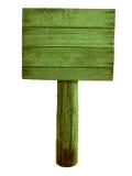 Zielony drewniany drogowy znak odizolowywający na bielu Zdjęcie Stock