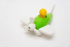 Zielony drewniany zabawka samolot Fotografia Stock