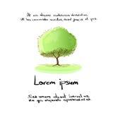 Zielony Drzewny ręka remisu loga koloru wektor ilustracja wektor