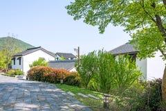Zielony drzewo i dom w Zhuxian sztuki bloków widoku Zdjęcie Royalty Free
