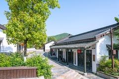 Zielony drzewo i dom w Zhuxian sztuki bloków widoku Zdjęcia Royalty Free