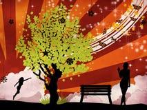 Zielony drzewo i kobieta royalty ilustracja