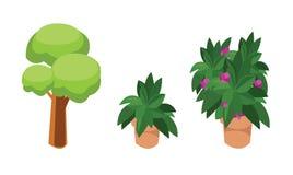 Zielony drzewo i kwiaty isometric, royalty ilustracja
