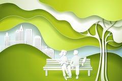 Zielony drzewo i rodzina ilustracja wektor