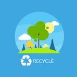 Zielony drzewo przetwarza płaskie eco ikony niebieskiego nieba chmury royalty ilustracja