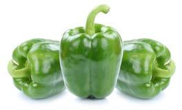 Zielony dzwonkowy pieprz pieprzy papryk papryk jarzynowego karmowego isolat Fotografia Stock