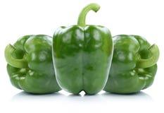 Zielony dzwonkowy pieprz pieprzy papryk papryk warzywa odizolowywającego dalej Obraz Royalty Free