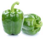 Zielony dzwonkowy pieprz pieprzy papryk papryk warzywa odizolowywającego dalej Fotografia Stock