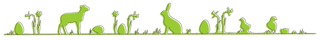 Zielony Easter wiosna symbole buduje linię ilustracja wektor
