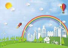 Zielony eco miasta papieru sztuki tło Zdjęcia Royalty Free