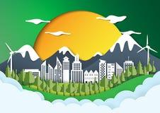 Zielony eco miasta papieru sztuki tło Zdjęcie Stock