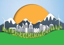 Zielony eco miasta papieru sztuki tło Obraz Stock