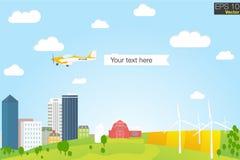 Zielony eco miasto z panel domami, silnikami wiatrowymi, mieszkania stylowym pojęciem dla energii odnawialnej i eco, Fotografia Royalty Free