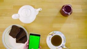 zielony ekran Kobieta wręcza scrolling mądrze telefon zbiory wideo