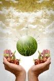 Zielony energetyczny pojęcie, Zielona planeta z silnikami wiatrowymi i ziarno, Zdjęcia Stock