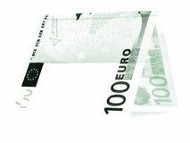 Zielony euro składał w połówce, pieniądze buda, waluta kąt odizolowywający Obrazy Stock