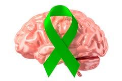 Zielony faborek z ludzkim mózg Umysłowy światowy świadomość dnia concep ilustracji