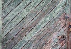 Zielony farby obieranie od drewnianego panelu drzwi pokazuje drewno gr Obraz Royalty Free