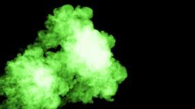 Zielony fluorescencyjny atrament na czarnym tle rozpuszcza w wodzie piękny skutek modelujący na komputerze 3d odpłacają się z zbiory