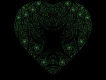 zielony fractal serce Zdjęcie Stock