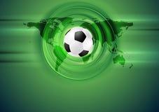 Zielony futbolowy abstrakcjonistyczny tło z światową mapą Obrazy Stock
