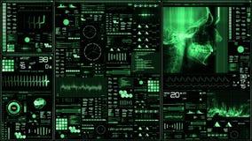 Zielony futurystyczny cierpliwego monitoru ekran w perspektywicznym, Medycznym ekranie/ ilustracja wektor
