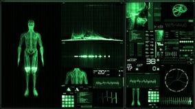 Zielony futurystyczny cierpliwego monitoru ekran w perspektywicznym, Medycznym ekranie/ royalty ilustracja
