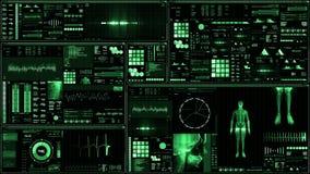 Zielony futurystyczny cierpliwego monitoru ekran w perspektywicznym, Medycznym ekranie/ ilustracji