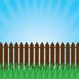 Zielony gazon z krzakami, drzewa i ogrodzenie. ilustracja wektor