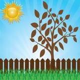 Zielony gazon z krzakami, drzewa i ogrodzenie. ilustracji