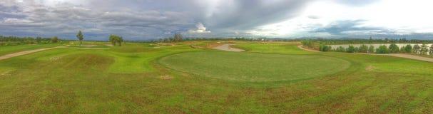 zielony golfowy tła panorana golfcourse zdjęcie stock