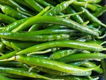 Zielony gorący pieprz jaskrawy, pogodny, zakrywający z światłem Tło zdjęcie stock