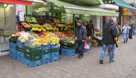 Zielony grocer ` s w Hamburg Fotografia Stock