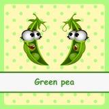 Zielony groch, śmieszni charaktery na żółtym tle Zdjęcia Royalty Free