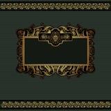 Zielony gronowy luksusowy tło z złocistym sztandarem Zdjęcie Royalty Free