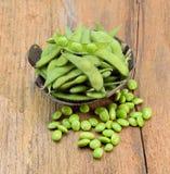 zielony groszek misek świeże Zdjęcia Royalty Free