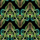 Zielony hafciarski arabeskowy bezszwowy wzór royalty ilustracja