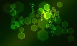 Zielony hexogon bokeh Zdjęcie Stock