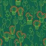 Zielony i pomarańczowy kaktusowy bezszwowy wielostrzałowy wzór ilustracji