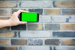 Zielony i pusty ekran mądrze telefon Obrazy Stock