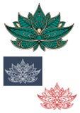 Zielony indyjski lotosowy kwiat z ornamentem Obraz Royalty Free