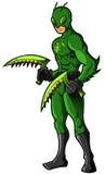 Zielony insekta bohater, czarny charakter lub obrazy stock