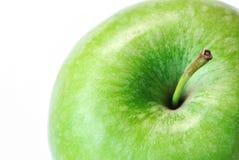 Zielony jabłka zakończenie up odizolowywający na białym tle Obraz Stock