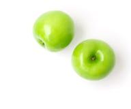 Zielony jabłko na białym tle, owocowy zdrowy pojęcie, odgórny widok zdjęcie royalty free
