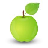 Zielony jabłko odizolowywający na biały tle. Obraz Stock