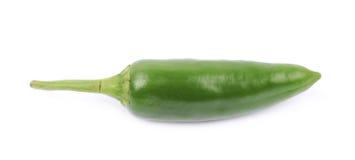 Zielony jalapeno pieprz odizolowywający Zdjęcie Stock