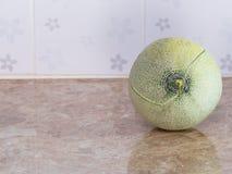 Zielony japoński melon na kontuarze w kuchni Obrazy Stock