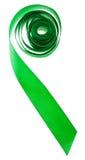 Zielony jedwabniczy dekoracyjny faborek odizolowywający na bielu Obrazy Stock
